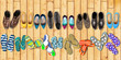 Summer holidays, office shoes colored flip flops, travelling