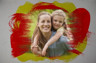 Composite image of smiling mother and daughter in the park