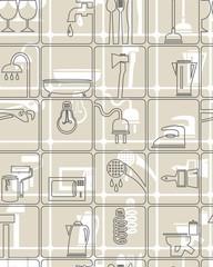 Фон инструменты и хозтовары серый, The background, tools
