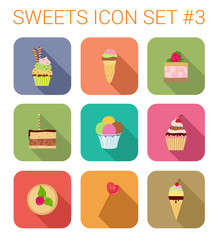 Flat style long shadow baking vector icon set. Icecream, candy.