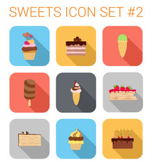Flat style long shadow baking vector icon set. Cakes, tarts.