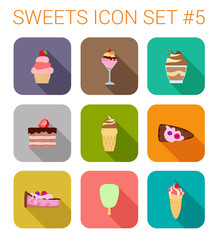 Flat style long shadow baking vector icon set. Ice cream, cake.