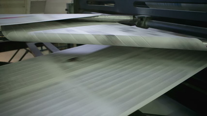 Printshop for newspaper. Double circumference web press (offset)