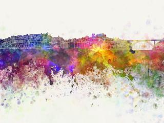 Porto skyline in watercolor background