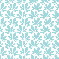 Retro Seamless Pattern Water Lily Turquoise