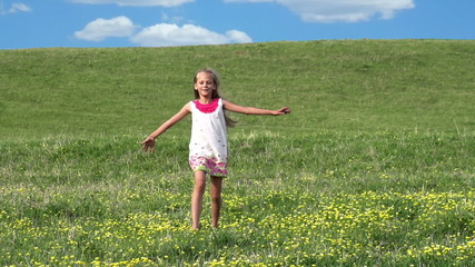 Girl Runs Across the Field