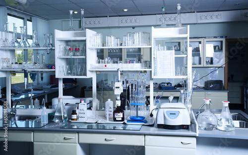 Fototapeta Chemical laboratory background. Laboratory concept.