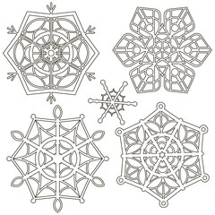 vector set of snowflakes isolated on white background