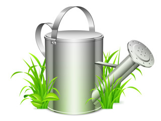 Metal watering can on green grass.