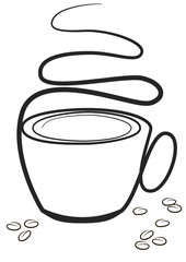 drawing a cup of coffee isolated on white background.