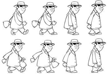 outline man with a hat and sunglasses with a bag goes