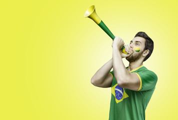 Brazilian fan celebrates on yellow background