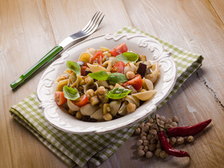 cold pasta salad with aubergine chickpeas and fresh tomatoes