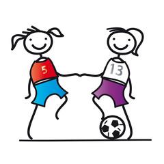 Zwei Fußballerinnen bei Anpfiff