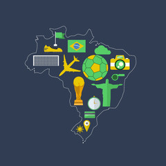 Brazil worldcup event flat design