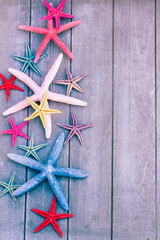 starfish on wooden board
