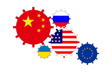 Gears with flags of the world - China, USA, ES, Uktaine, Russia