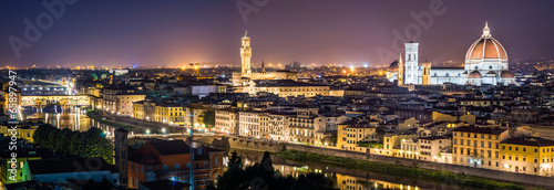 canvas print picture Panorama Florenz bei Nacht