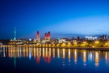 Night photo of Baku Azerbaijan