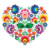 Fotoroleta Polish olk art art heart embroidery  - wzory lowickie