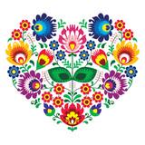 Fototapety Polish olk art art heart embroidery  - wzory lowickie