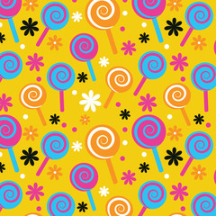 Lollypop Candy Seamless Pattern Background