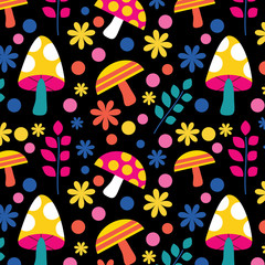 Retro Wild Mushrooms Seamless Pattern Background