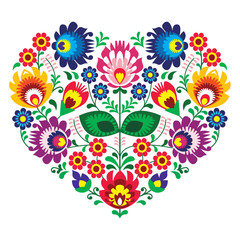 Polish olk art art heart embroidery  - wzory lowickie