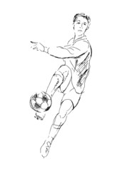 Hand drawing a soccer player. Vector illustration