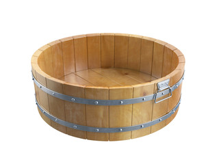 Wooden bucket. 3D isolated