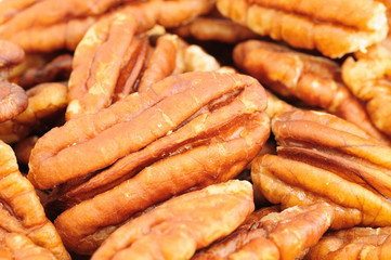 Close up view of the pecan nuts.