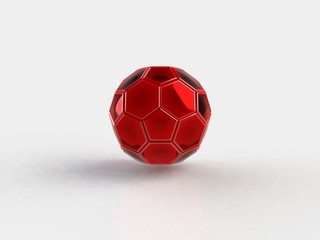 Glossy soccer ball on a white background