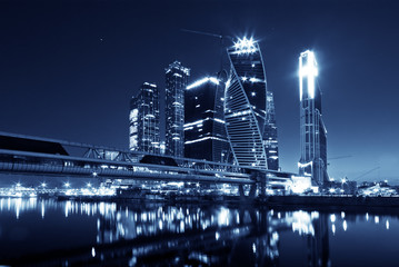 The Moscow International Business Center at night