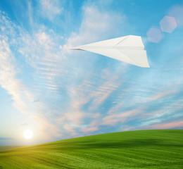 paper plane in sky
