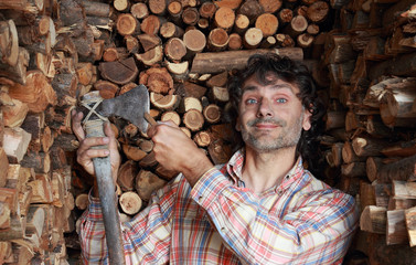 woodcutter sharpening the axe