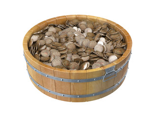 Wooden bucket full of coins. 3D isolated