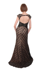 lace evening dress is on woman