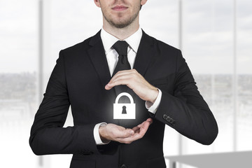 lock security businessman protect in office ambience