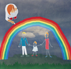 Girl draws on the pavement his family and rainbow