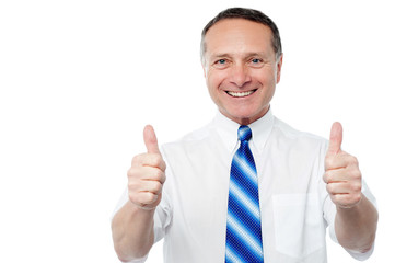 Entrepreneur showing double thumbs up