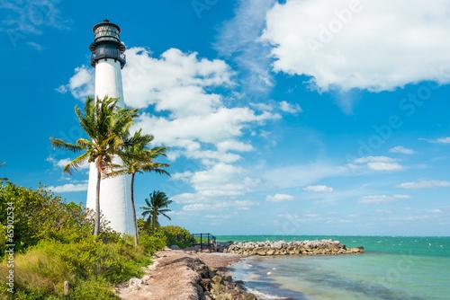 Leinwanddruck Bild Famous lighthouse at Key Biscayne, Miami