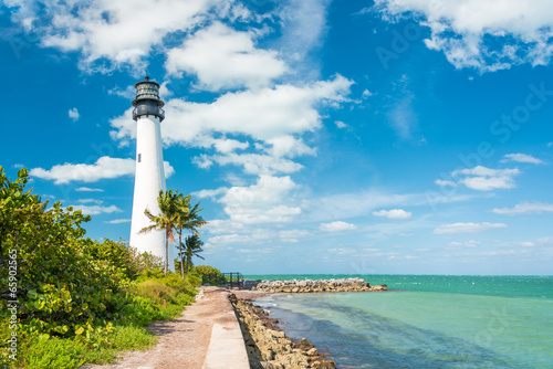 Leinwandbild Motiv Famous lighthouse at Key Biscayne, Miami