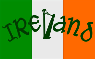 Irish Flag and Harp