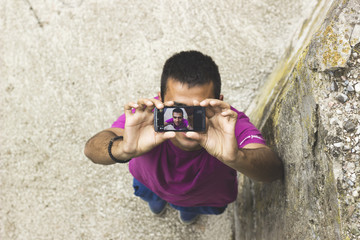 Man taking self portrait