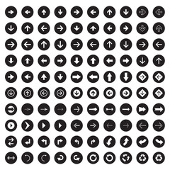 Arrow sign icon set. Simple circle shape internet button.