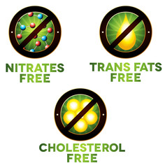 Vivid diet icon set, food intolerance such as Nitrates free, tra