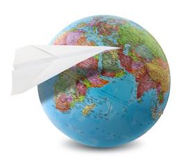 paper plane globe
