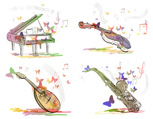 musical instruments in abstract style