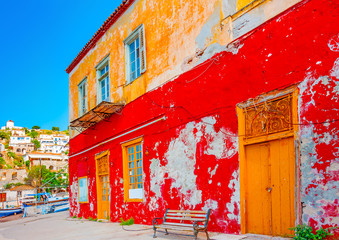 traditional house at kamini port in Hydra island in Greece