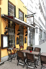 Vector illustration of street cafe in the old city